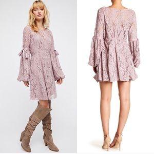 Free people ruby lace mauve mini dress